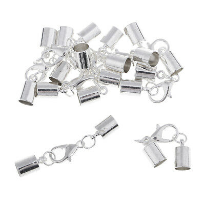 10x Silver Kumihimo Leather Cord Bracelet Ends Caps Jewelry Making Findings • 2.81£