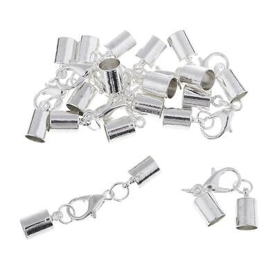10x Silver Kumihimo Leather Cord Bracelet Ends Caps Jewelry Making Findings • 3.10£