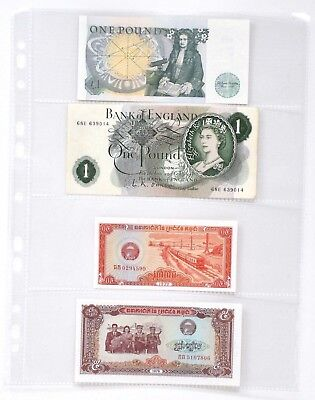 £4.85 • Buy Clear Plastic Banknote  Album Sheets Sleeves Storage Folder Holds 4 Notes [D]