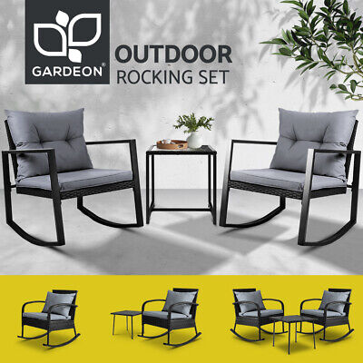 AU240.95 • Buy Gardeon Rocking Chairs Chair Table Outdoor Furniture Wicker Lounge Recliner
