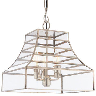 3 Light Ceiling Pendant –Glass Box Shade– Hanging Feature Lamp Bulb Chain Rose • 164.99£