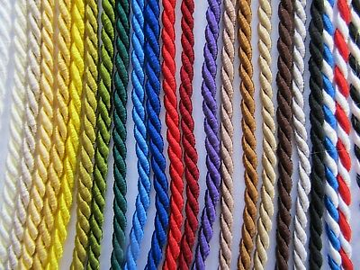 3mm FINE SILKY FURNISHING CORD Quality Barley Twist Piping Upholstery • 0.99£