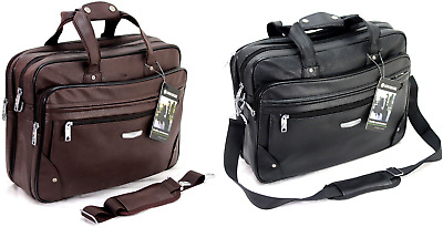 Executive Laptop Briefcase Business Office Work Messenger Pu Leather Travel Bag • 23.99£