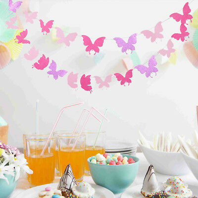 Butterfly Fabric Bunting Banner Wedding Party Backdrops Decor • 4.38£