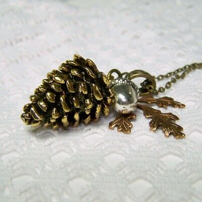 Large Pine Cone Cluster Necklace, Handmade Autumn Oak Leaf & Acorn Fall Jewelry • 22.99$