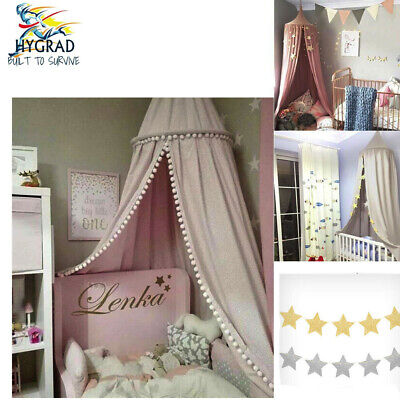 Kids Baby Bed Canopy Bedcover Mosquito Net Curtain Bedding Dome Tent Cotton • 19.99£