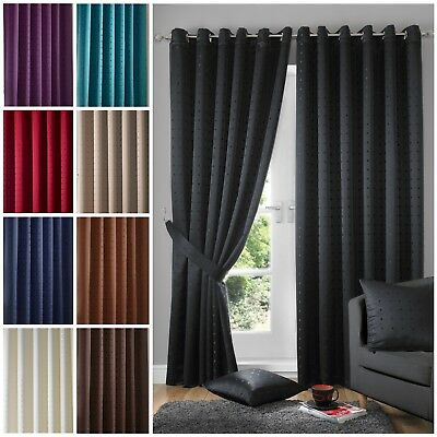 Heavy Weight Semi Plain Fully Lined Chrome Ring Top Eyelet Curtains Tieback Set • 32.95£