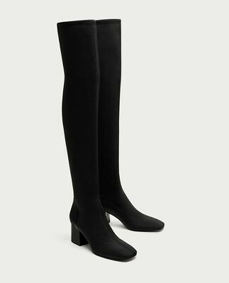 Zara Black Over The Knee Fabric Boots Shoes Mid Heel Sz 38 • 41$