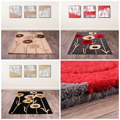 £48.80 • Buy Modern Quality 100% Wool Area Rug Hand Tufted Soft Deep Pile Poppy Flowers Mat