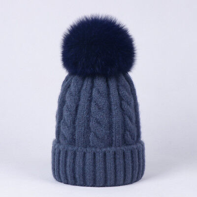 2d9a1c50a9b Women Cashmere Blend Knit Beanie Hat With Real Fox Fur Pompom Ears Winter  Cap • 16.99