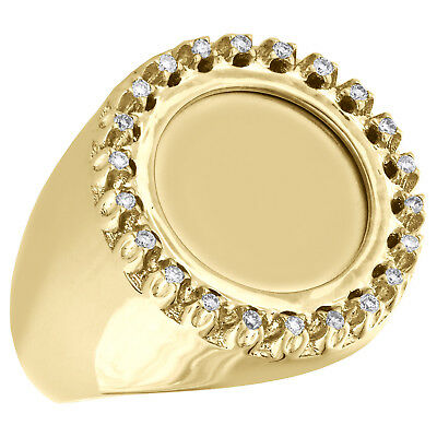 AU1621.03 • Buy 10K Yellow Gold Mens Round Diamond Engraveable Memory Frame Pinky Ring 0.27 CT.
