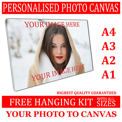 Custom Canvas Print Your Photo On Personalised Canvas Large Box Ready To Hang • 9.59£