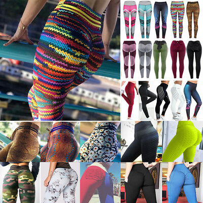AU14.99 • Buy Womens High Waist Yoga Pants Printed Fitness Leggings Sports Stretch Trousers G1