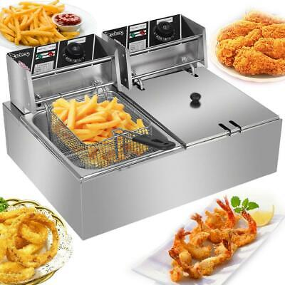 $98.95 • Buy 5000W Electric Countertop Deep Fryer Dual Tank Commercial Restaurant 12 Liter