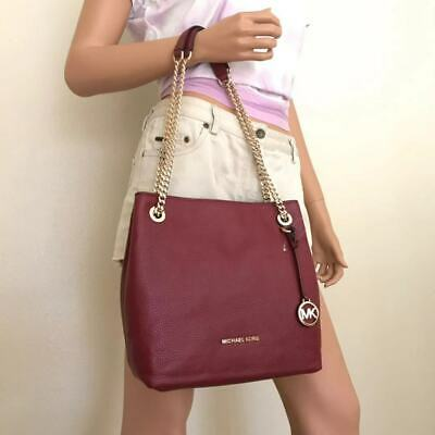 581fcf1a33b9 NWT Michael Kors Large Mulberry Leather Jet Set Chain Shoulder Tote Bag •  84.00$