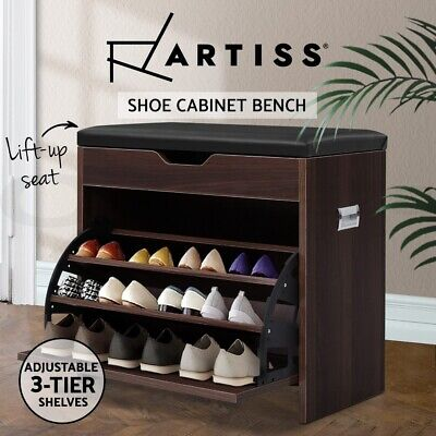 AU64.90 • Buy Artiss Shoe Cabinet Bench Shoes Organiser Storage Rack Wooden Cupboard 15 Pairs