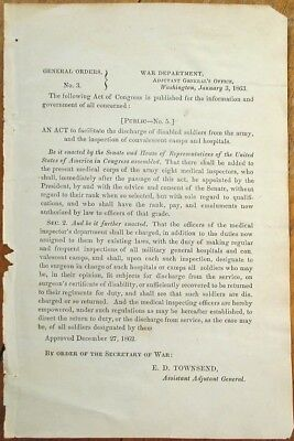 $9.99 • Buy Civil War 1963 General Order 3-Discharge Of Disabled Soldiers-Convalescent Camps