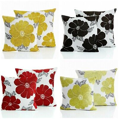 £4.95 • Buy Thick Heavy Chenille Jacquard Poppy Floral Scatter Cushions Soft Quality 2 Sizes