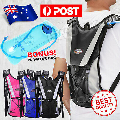 AU18.25 • Buy Hydration Pack Water Backpack 2L Bladder Bag Cycling Bicycle Bike Hiking Climbin