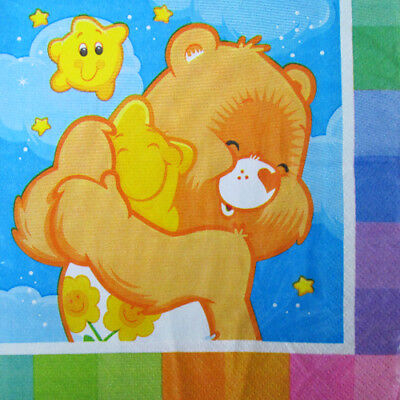 CARE BEARS Rainbow LUNCH NAPKINS (16) ~ Birthday Party Supplies Serviettes Paper • 10.50£