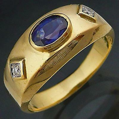 AU685 • Buy Gypsy Solid 18k Yellow GOLD SAPPHIRE & DIAMOND BAND Pinky/Ring Val=$1780 Sz I1/2