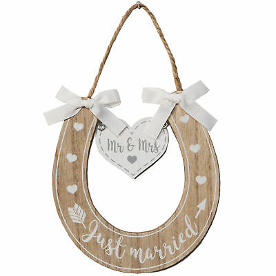 £4.99 • Buy Wedding 'Mr & Mrs' 'Just Married' Wooden Horseshoe With Hearts