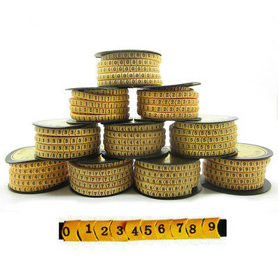 AU24.14 • Buy 2500PCS 10 Roll For 2.5mm2 10-6AWG Cable Markers Printed Lable 0-9 Letter Tube
