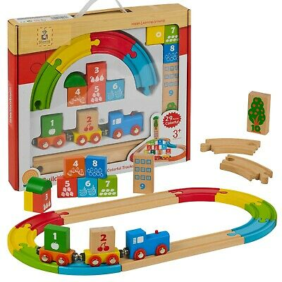 My First Wooden 29pc Kids Train Set Railway Track Toy Brio Bigjigs Compatible  • 15.99£