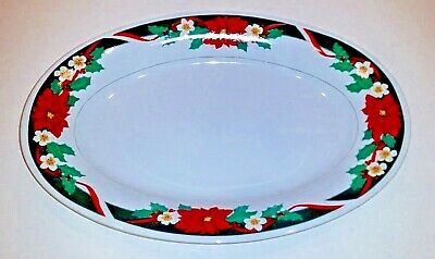 $20.49 • Buy Tienshan Oval Christmas Platter Serving Dish Poinsettia Accent Fine China