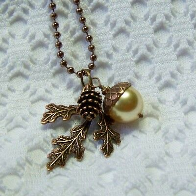 Acorn Pearl, Pine Cone & Oak Leaves Branch Copper Necklace, Woodland, Winter • 22.50$