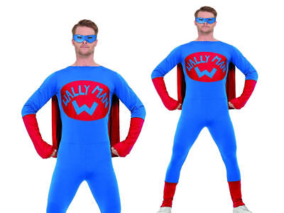 Wallyman Supherhero Mens Adults Lycra Bodysuit Fancy Dress Hero New • 24.99£