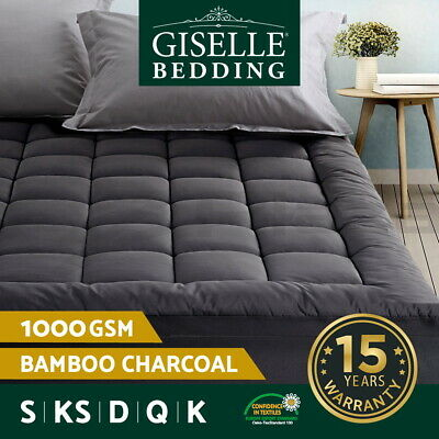 AU59.95 • Buy Giselle Bedding Bamboo Charcoal Pillowtop Mattress Topper Protector Cover