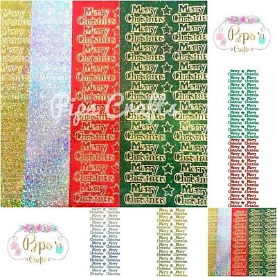£1.59 • Buy Sparkly Merry Christmas Peel Off Sticker Sheet Card Making Craft Glitter
