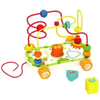£11.49 • Buy Drag The Wire Car Bead Maze Shape Sorter Wooden Blocks Pull Along Toddler Toy