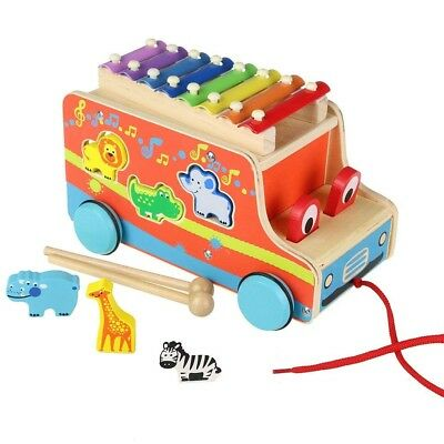 £14.99 • Buy Pull Along Xylophone Wooden Towing Vehicle Toy Animal Shape Sorter Childrens New