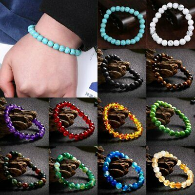$1.59 • Buy Yoga 7 Chakra Volcanic Stone Beads Bracelet Luck Men Women Natural Bead Bangle