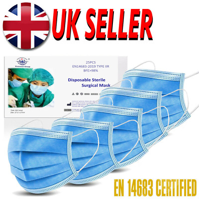 Type IIR 2R Surgical Mask 3-Ply Medical Grade EN14683 CE Approved 50 Face Masks • 19.99£
