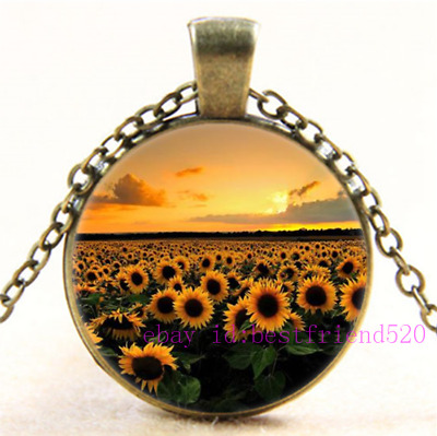 £1.96 • Buy Necklace Sunflower Photo Tibet Silver Cabochon Glass Pendant Chain Necklace