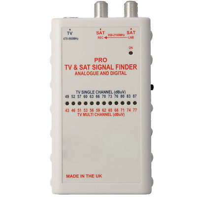 PRO Satellite TV Aerial Signal Strength Meter –Digital Dish Alignment Finder Kit • 39.99£