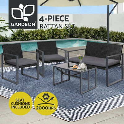 AU219 • Buy Gardeon 4PCS Outdoor Furniture Setting Patio Wicker Chairs Table Set Lounge