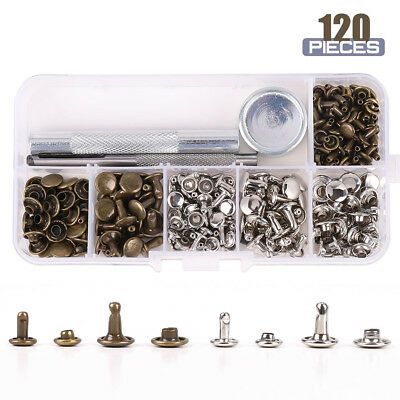 120 Set Leather Rivets Double Cap Rivets Metal Fixing Tool Kit For Leather Craft • 5.79£
