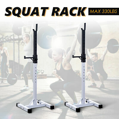 $ CDN199.99 • Buy Adjustable Stable Squat Rack Strength Power Lifting Weight Stand 2 Bars Holder