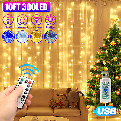 $11.97 • Buy 300LED Party Wedding Curtain Fairy Lights USB String Light Home W/Remote Control