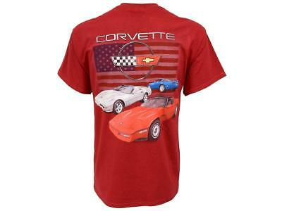 1984-1996 Corvette T-Shirt C4 Red White & Blue Cars With Flag • 13.71£