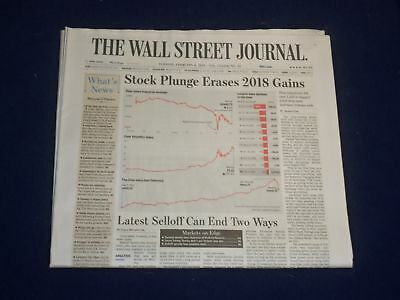 $35 • Buy 2018 February 6 Wall Street Journal Newspaper - Stock Plunge Erases 2018 Gains