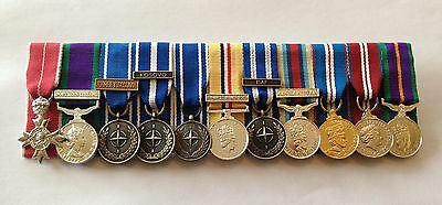 £125 • Buy Court Mounted Miniature Medals, MBE, GSM, NATO, Iraq, Afghanistan, Jubilee, ACSM