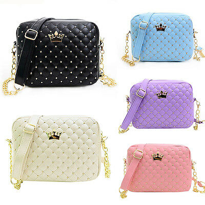 Women Ladies Crown Quilted Shoulder Handbag Bag Gold Chain PU Leather Cross Body • 13.89£