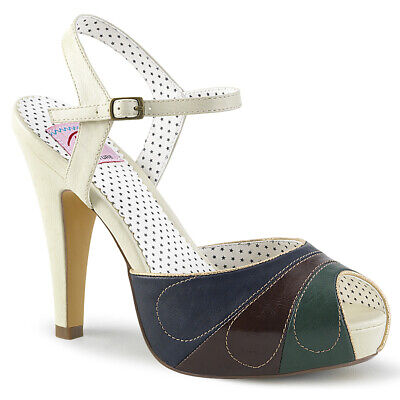 AU54.32 • Buy White Blue Green Pinup Girl Peep Toe Heels 1950s Rockabilly Womans Shoes 8 9 10