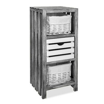 Bedside Table Unit Cabinet Wicker Basket Nightstand Drawer Storage Bathroom New  • 36.95£