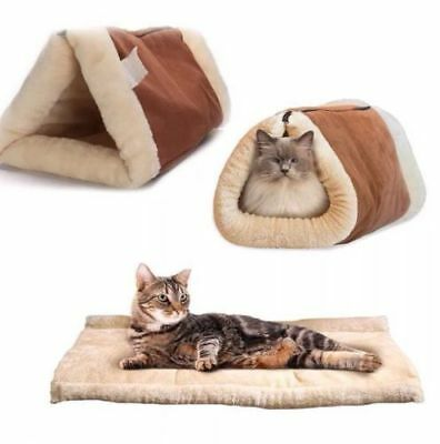 £9.99 • Buy Kitty Shack 2 In 1 Self Heating Pet Tunnel Bed & Mat Cat Dog Portable Warm & Hot